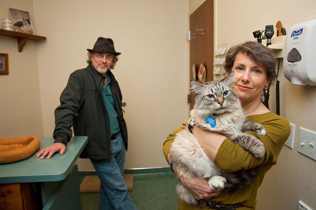 couple holding cat